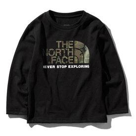 THE NORTH FACE(ザ・ノースフェイス) L/S CAMO LOGO TEE(ログスリーブ カモ ロゴ Tシャツ キッズ) Kid's 120 K(ブラック) NTJ81824