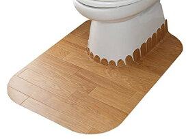 拭けるトイレマット ロング LBE KJ-89/4973381228881 サンコー ズレないおくだけ吸着 拭ける吸着 トイレマット ロング ウッド
