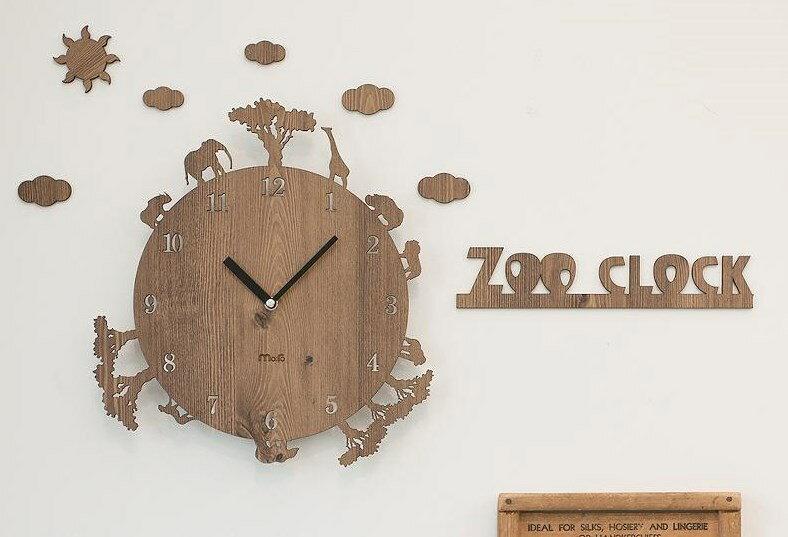 ハンドメイド mo:ro 壁掛け時計 動物のシルエットがおしゃれな掛け時計! デザイン壁掛け時計 【Zoo】 アニマル壁掛け時計(ブラウン)