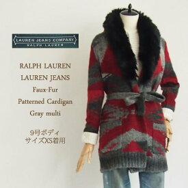 【SALE】【LAUREN by Ralph Lauren】ラルフローレン ローレン ネイティブ柄 ファー ニットガウン/GRAY/BURGUNDY【あす楽対応】セーター