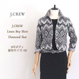 SPECIAL PRICE♪【SALE】【J.CREW】ジェイクルー ダイアモンド イカット リネン シャツ/BLACK/WHITE【あす楽対応】