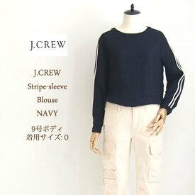 SPECIAL PRICE♪【SALE】【J.CREW】ジェイクルー ストライプスリーブ ブラウス/NAVY【あす楽対応】メール便可