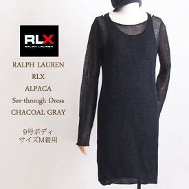 【SALE】【OUTLET】【RLX by Ralph Lauren】ラルフローレン アールエルエックス アルパカ シースルーニット ワンピース/CHACOAL GRAY【あす楽対応】