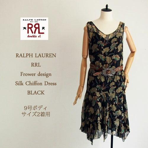 【SALE】【RRL by Ralph Lauren】ラルフローレン DOUBLE RL ダブルアールエル  シルク シフォン フラワーパターンワンピース/BLACK