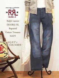 【SALE】【RRL by Ralph Lauren】ラルフローレン DOUBLE RL ダブルアールエル リペア コットントラウザー パンツ/NAVY