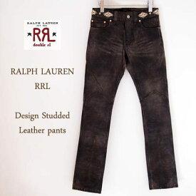 【SALE】【RRL by Ralph Lauren】ラルフローレン ダブルアールエル デザイン スタッズ レザーパンツ