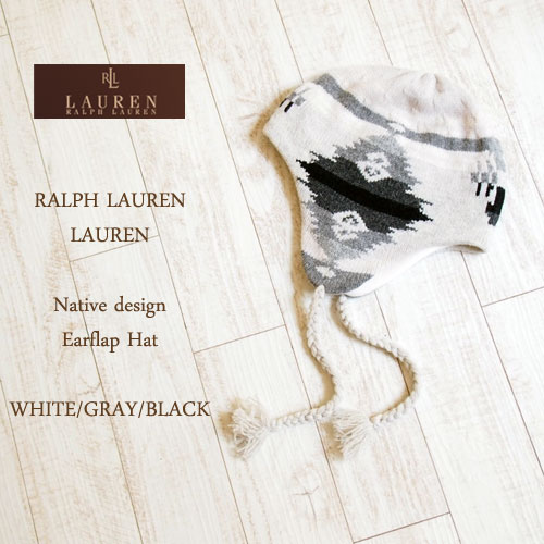 【SALE】【LAUREN by Ralph Lauren】ラルフローレン ローレン ネイティブ柄 イヤーフラップ キャップ/WHITE・GRAY・BLACK【あす楽対応】