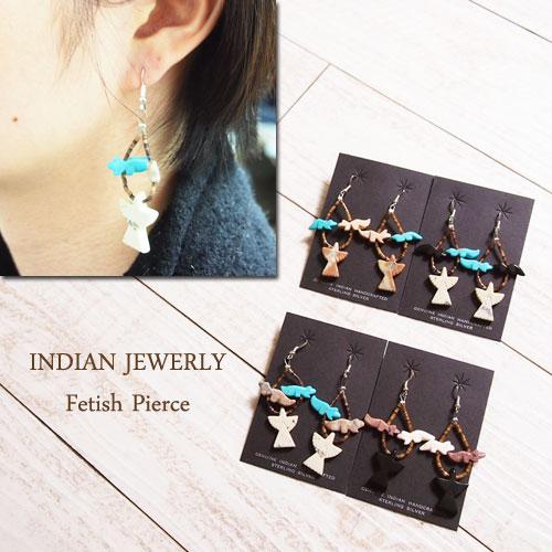 インディアン ジュエリー フェティッシュ フープ ピアス/4種INDIAN JEWELRY ZUNI Fetish hoop earringsメール便可