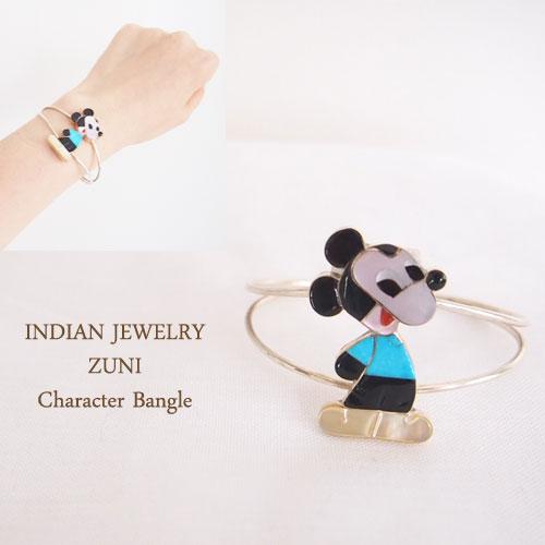 【INDIAN JEWELRY】インディアン ジュエリー ZUNI キャラクター バングル