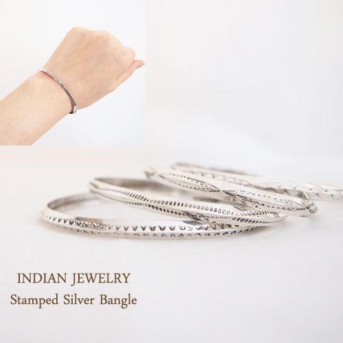 インディアン ジュエリー ナバホ スタンプワーク シルバーバングルINDIAN JEWELRY NAVAJO Silver Bangleメール便可