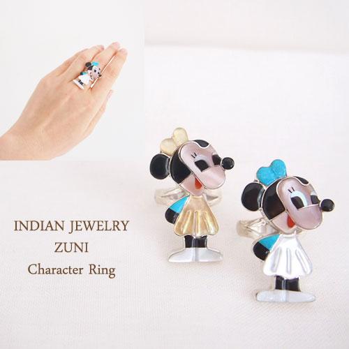 【INDIAN JEWELRY】インディアン ジュエリー ZUNI キャラクター シルバーリング/ミニー