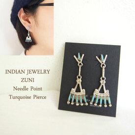 インディアン ジュエリーズニ ニードルポイントターコイズ ピアスINDIAN JEWELRY ZUNI Earringsメール便可