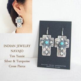 インディアンジュエリー ナバホ スタンプワーク クロス ピアスINDIAN JEWELRY NAVAJO Cross Earringsメール便可