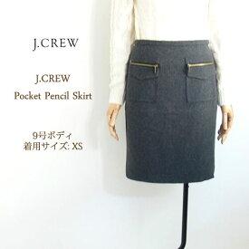 【SALE】【J.CREW】 ジェイクルー ジップポケット ウール ペンシル スカート/GREY【あす楽対応】