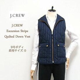 【SALE】【J.CREW】 ジェイクルー  ストライプ キルティング ダウンベスト/NAVY【あす楽対応】