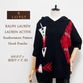 【SALE】【LAUREN ACTIVE by Ralph Lauren】ラルフローレン アクティブ ネイティブ柄 フーディ ポンチョ/BLACK【あす楽対応】セーター