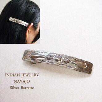 Sterling Silver Navajo Silver Stamp Valletta INDIAN JEWELRY NAVAJO Silver Barrette