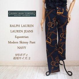 【SALE】【LAUREN JEANS by Ralph Lauren】ラルフローレン ローレンジーンズ 馬具プリント スキニー パンツ/NAVY【あす楽対応】