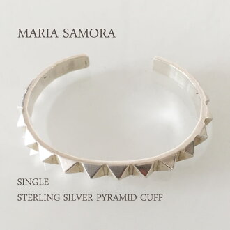 마리아 사 모라 단일 피라미드 실버 팔찌 MARIA SAMORA SINGLE STERLING SILVER PYRAMID CUFF BANGLE