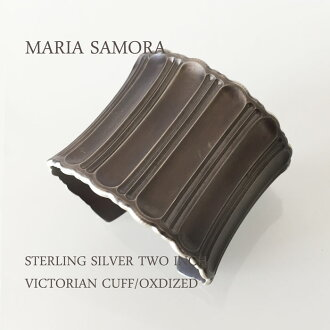 마리아 사 모라 실버 와이드 뱅 글 MARIA SAMORA STERLING SILVER TWO INCH VICTORIAN CUFF BANGLE/OXIDIZED