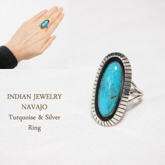纳瓦霍纯银银影盒绿松石环印度珠宝绿松石纯银戒指