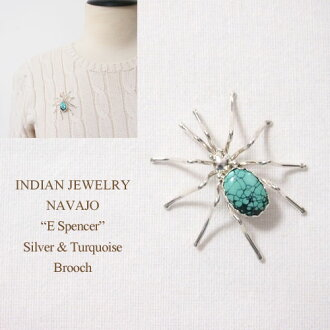 "印第安珠寶納瓦霍""E Spencer""三鯉魚銀子蜘蛛大頭針胸針INDIAN JEWELRY NAVAJO"
