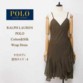 OUTLET SALE ラルフローレン ポロ レディース コットン シルク ラップ ドレス/グリーンPOLO by Ralph Lauren Dress