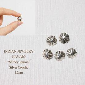 """インディアン ジュエリー ナバホ """"Shirley Jonson"""" シルバー アポロ パラシュート コンチョ 1.2cm/1個INDIAN JEWELRY NAVAJO Silver Conchoメール便可"""