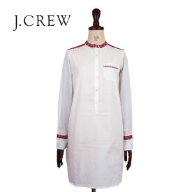 OUTLET SALE!!ジェイクルー スタンドカラー 刺繍シャツワンピース/WHITEJCREW Stand Collar Shirts
