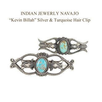 "Indian jewelry Navaho ""Kevin Billah"" Kingman turquoise silver Valletta hair accessories INDIAN JEWELRY NAVAJO Silver Turquoise Hair Clip"