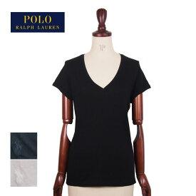 ラルフローレン ポロ レディース コットン Vネック ロールアップ Tシャツ/ブラック/ホワイトPOLO Ralph Laurenメール便可