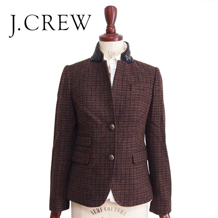 【SALE】【J.CREW】ジェイクルー ビーズデコレーション SCHOOL BOY ツイードジャケット/BROWN【あす楽対応】