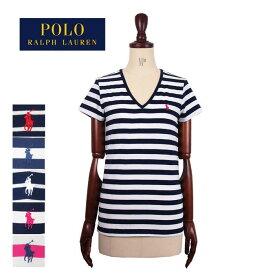 ポロ ラルフローレン レディース コットン Vネック ボーダー Tシャツ 半袖 女性用POLO Ralph Lauren T-Shirt