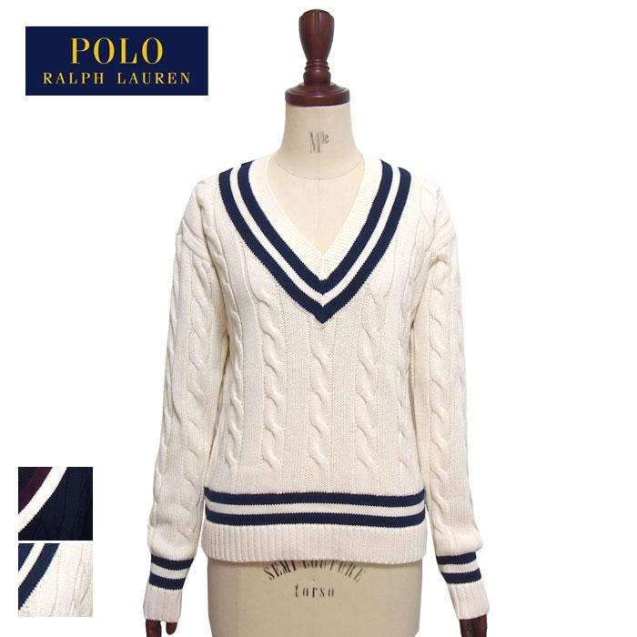 ラルフローレン ポロ レディース コットン クリケット セーター チルデン ニット/ホワイトPOLO Ralph Lauren
