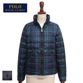 ラルフローレン ポロ レディース チェック柄 リバーシブル ダウンジャケット コート/グリーン/ブラックPOLO Ralph Lauren Down Jacket