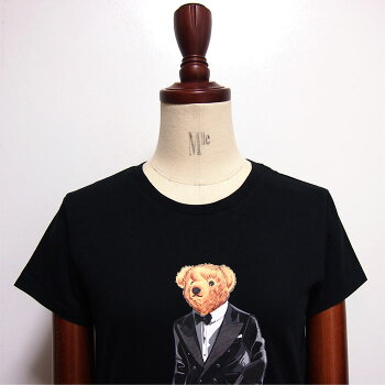 ラルフローレンポロレディースポロベアークルーネックTシャツタキシード/ブラックPOLORalphLaurenT-Shirt