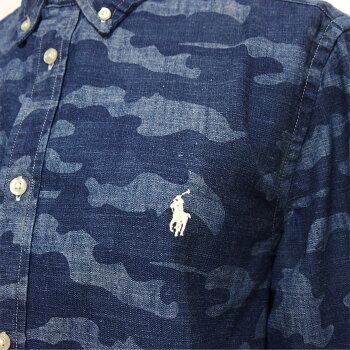 ラルフローレンキッズボーイズポニー刺繍迷彩デニムシャツ/インディゴブルーPOLORalphLaurenKid'sBoy's