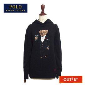 【難あり・アウトレット】ラルフローレン ポロ レディース ポロベアー フード付き ニット セーター/BLACKPolo Ralph Lauren POLOBEAR knit hoodie
