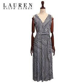 【SALE】ラルフローレン ローレン レディース ボーダー ストライプ ラップ ワンピース/WHITE/NAVYLAUREN by Ralph Lauren Wrap Dress