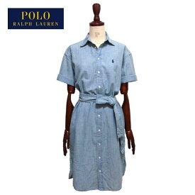 ラルフローレン ポロ レディース ポニー刺繍 シャンブレー 半袖 シャツ ワンピース/ブルーPOLO Ralph Lauren Dress
