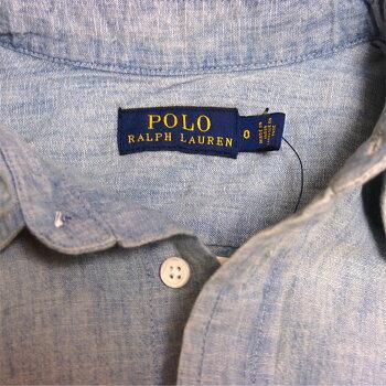 ラルフローレンポロレディースポニー刺繍シャンブレー半袖シャツワンピース/ブルーPOLORalphLaurenDress