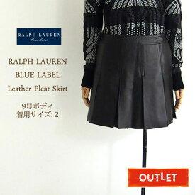 【難あり・アウトレット】BLUE LABEL by Ralph Lauren ラルフローレン レザー プリーツ スカート/BLACK