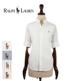 ラルフローレン レディース ポニーワンポイント 半袖 ボタンダウン オックスフォード シャツ/ホワイト/ブルー/ピンクRalph Lauren Shirt