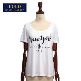 【難あり・アウトレット】ラルフローレン ポロ レディース ポニー NEW YORK プリント Tシャツ/ホワイト