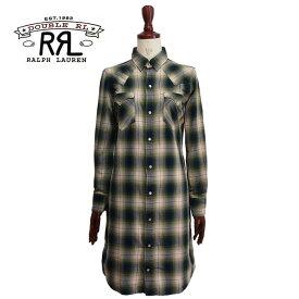 ラルフローレン ダブルアールエル レディース バッファロー チェック ウエスタン シャツ ワンピース/グリーンRRL Ralph Lauren Dress