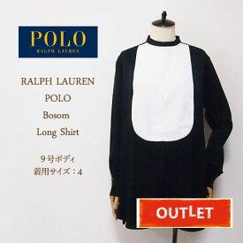 【難あり・アウトレット】ポロラルフローレン レディース タキシード風 ブザム シャツ チュニック/BLACKPOLO Ralph Lauren Long Shirts