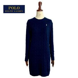 ポロ ラルフローレン レディース ケーブル編み クルーネック コットンニット ワンピースPOLO Ralph Lauren Cable Knit Dress