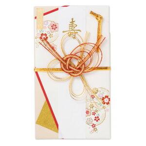 エヌビー社 寿金封 奏で   ご祝儀袋 白 赤 金 花柄 短冊2種 金箔 おしゃれ 大人 上品 和柄 かわいい 御祝儀袋 結婚式 披露宴 寿 ご結婚御祝 説明書入