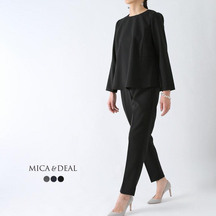 **【19SSコレクション】MICA&DEAL〔マイカアンドディール〕D14A0019クルーネックバックタックブラウス×パンツセットアップ