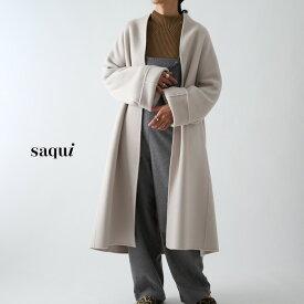 **【19AWコレクション】(RN)saqui〔サキ〕19AW03reversible long coat/ジロンラムウールノーカラーテントラインロングコート【P2】